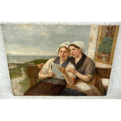 """"""" La Lettre """" Par Bource Henri Jacques 1826 - 1899 Belgique"""