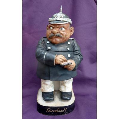 "Tobacco Pot ""german Soldier With Peak Helmet"""