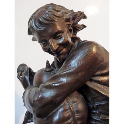 Lebourg Charles Auguste 1829 - 1906 Bronze Breton Sonnant Du Biniou