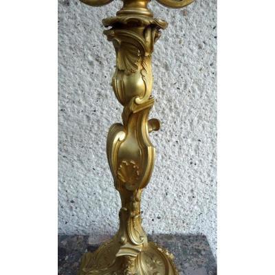 Grande Lampe En Bronze Doré Et Ciselé Signé