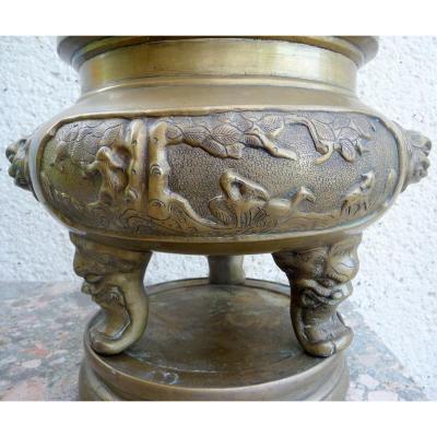 Brule Parfum Tripode En Bronze Asie 19 ème Siècle