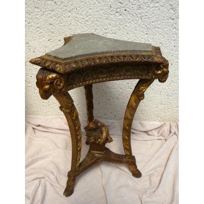 Guéridon bois doré Tripode aux Têtes De Bélier Louis XVI