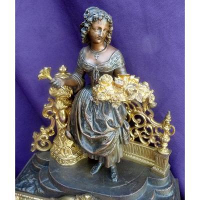 "Pendule En Bronze "" La Marchande De Fleurs """