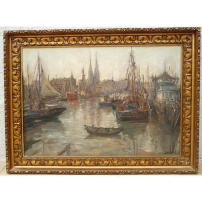 Port In Belgium? Painted By Léon Cassel
