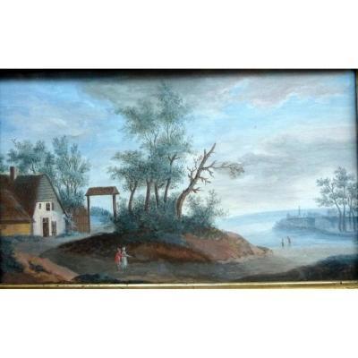 "tableau miniature "" Paysage Suisse "" 1840"