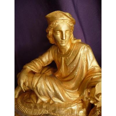 Pendulum In Bronze And Golden Regulator And Its Glass Globe