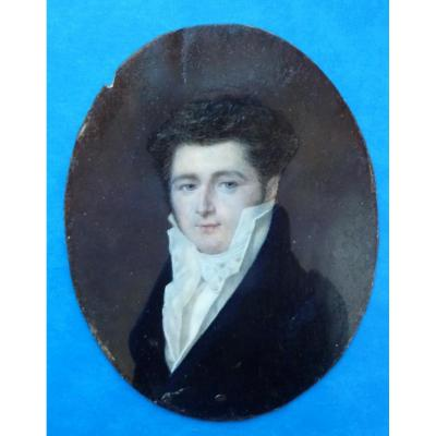 Aubry Louis François (1767.1851) Portrait Of A Young Man