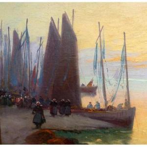 """""""Le retour des sardiniers au port"""" de Paul Philippe 1870-1930"""