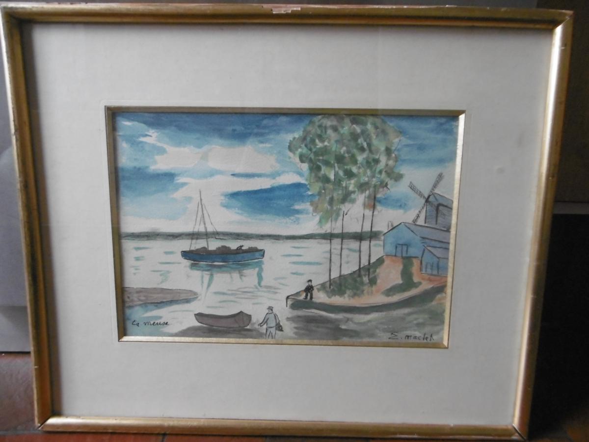 """Elisée Maclet """"la Meuse"""" Aquarelle"""