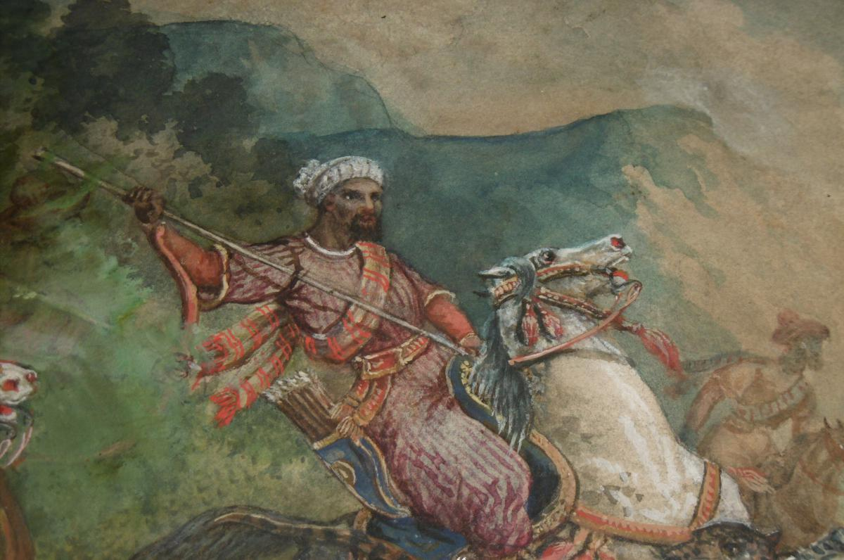 Signed Watercolor Orientalist Barrias-photo-4