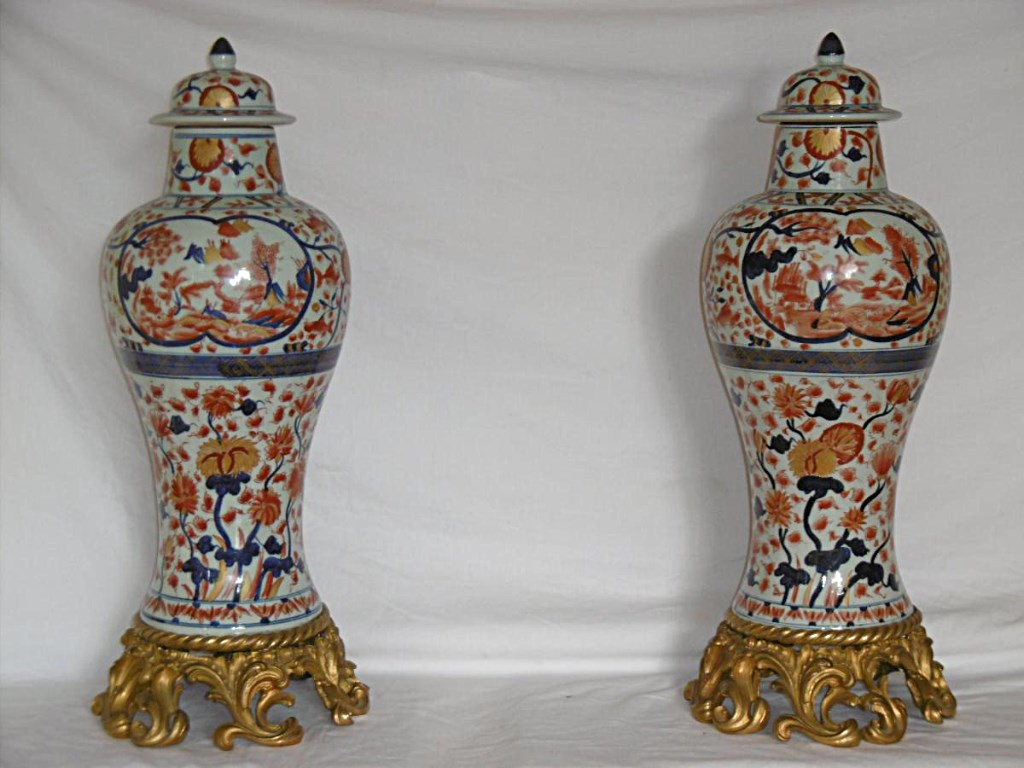 Great Pair Of Vases Covered Chinese Signed