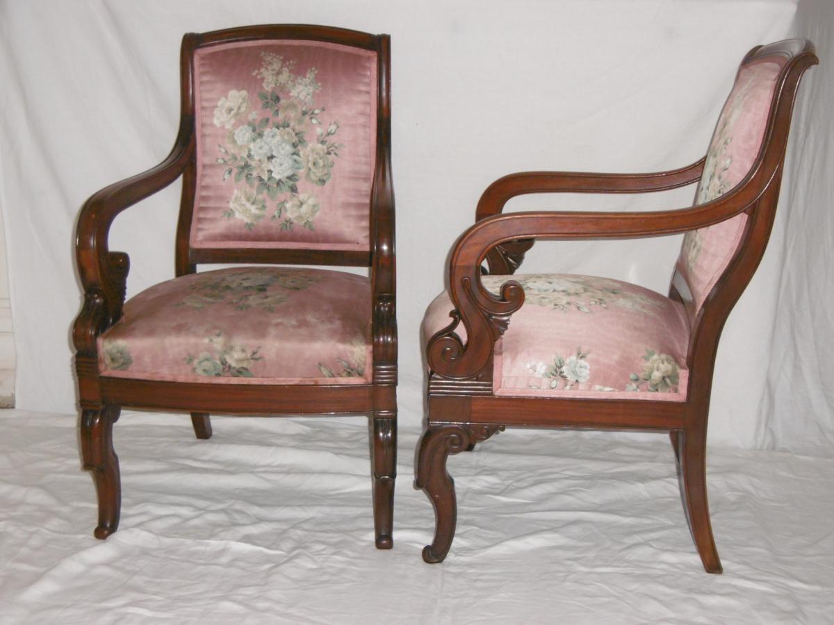 Paire de fauteuils acajou poque restauration fauteuils - Cours de restauration de fauteuil ...