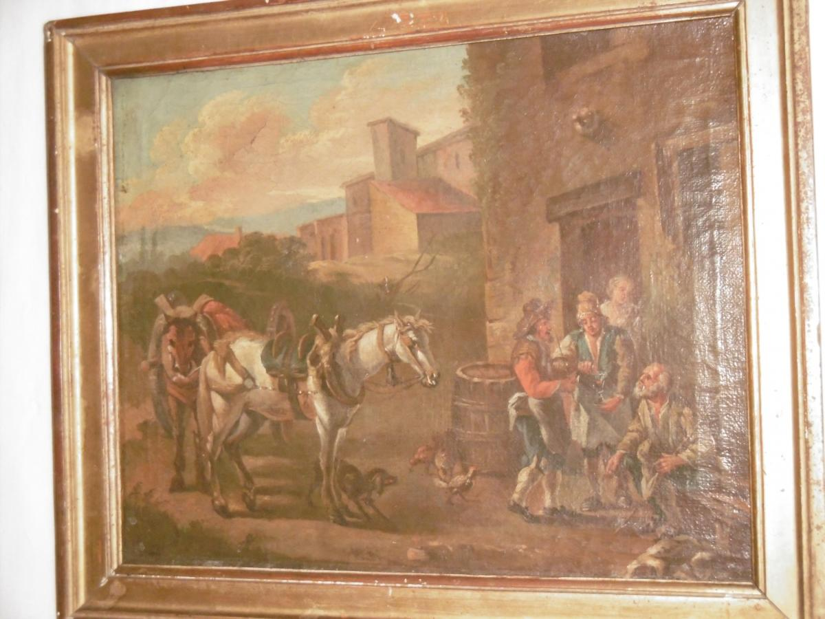 Paire d'Huiles Sur Toile XVIIIème-photo-3