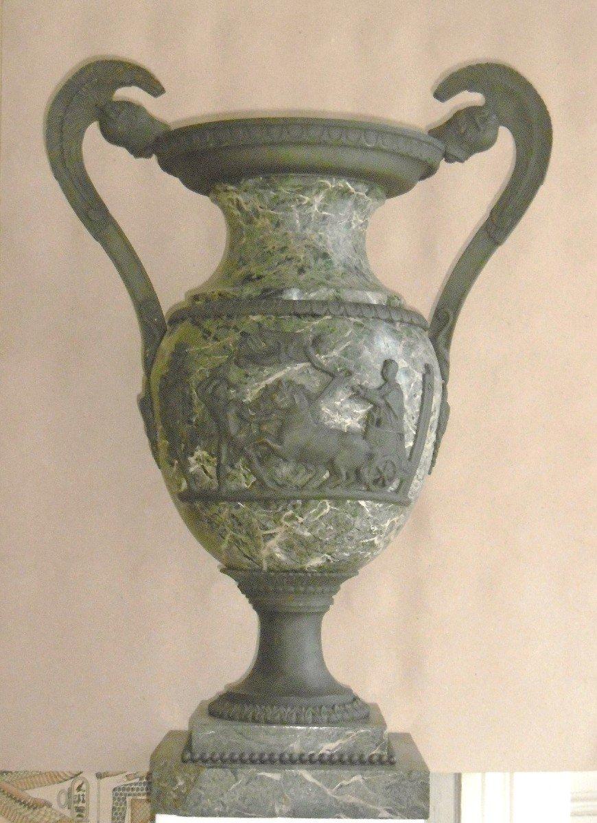 Importante urne marbre et bronze