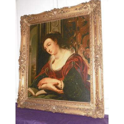 Grand Portrait De Dame XVIIIème
