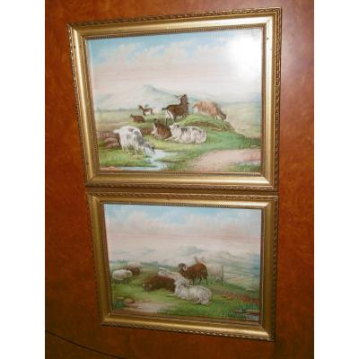 Pair Of Paintings On Porcelain