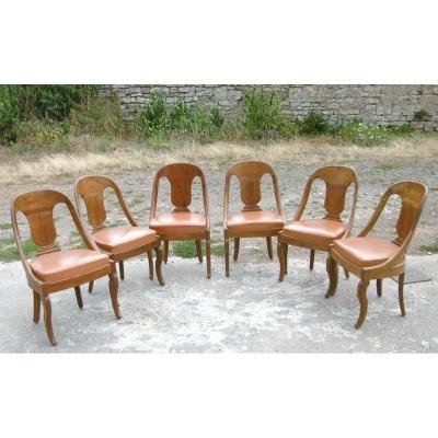 Série De Six Chaises Gondoles époque Restauration