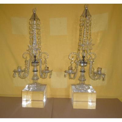 Pair Of Crystal Girandoles