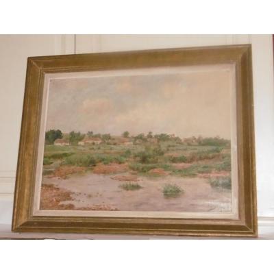 Peinture Paysage Signée Louyot peintre lorrain