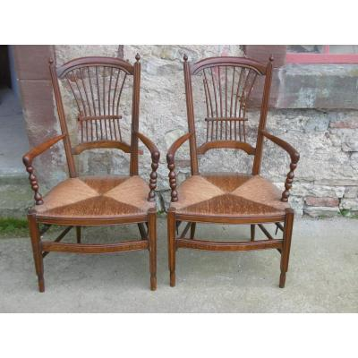 Pair Of Compagnard Armchairs