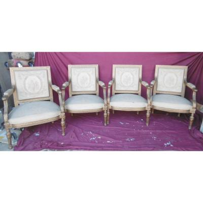 Suite Of Four Large Louis XVI Armchairs