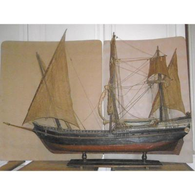19th Century Sailboat Model