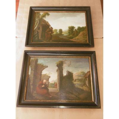 Paire de tableaux début 18ème