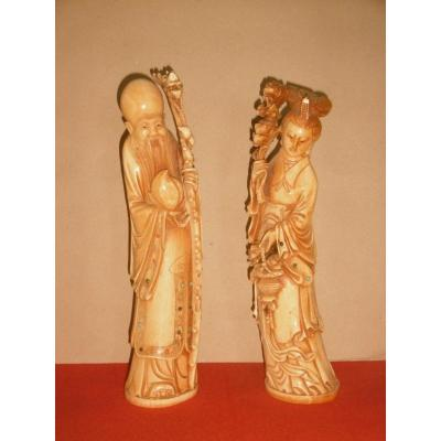 Pair Of Statues Signed China