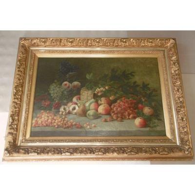 "Grande peinture ""entablement de fruits"""