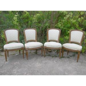 Suite de 4 chaises d'époque Louis XVI