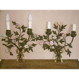 """Paire d'appliques """"bouquets de fleurs"""""""