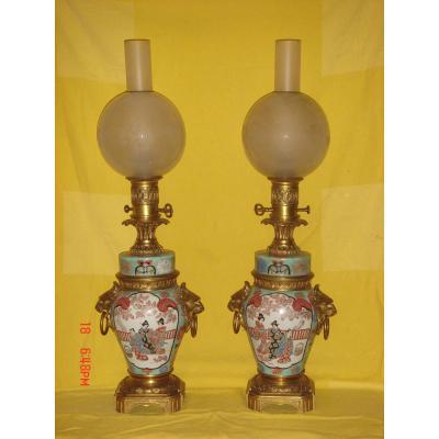Paire De Lampes Chine Montées Bronze