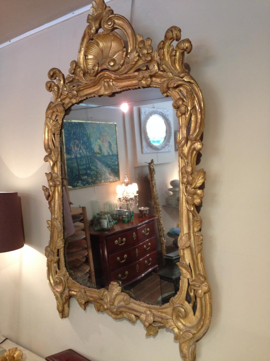 Miroir proven al bois dor louis xv miroirs for Miroir louis xv