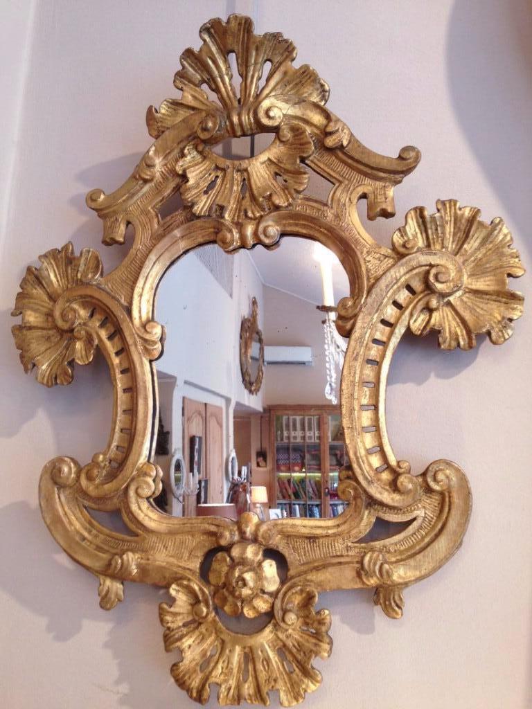 Miroir bois dor xviii i me si cle miroirs for Miroir louis xiii