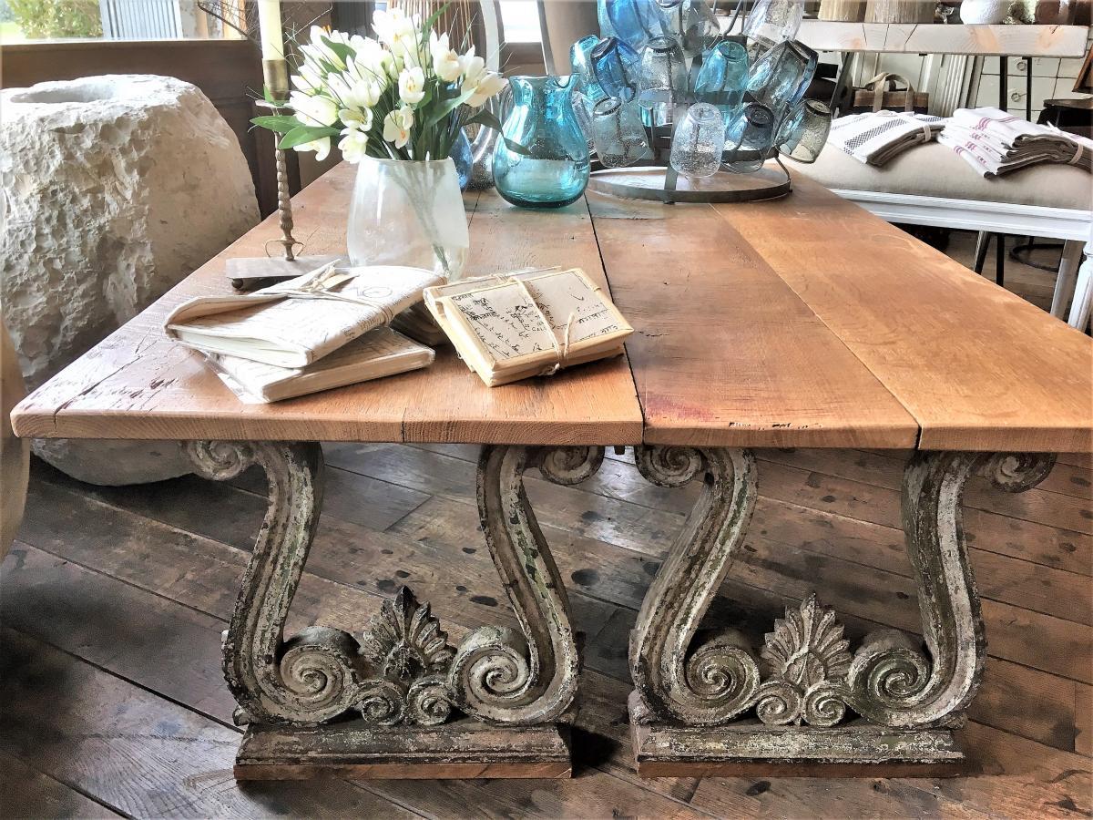 Table Basse XIX Fonte Et Bois