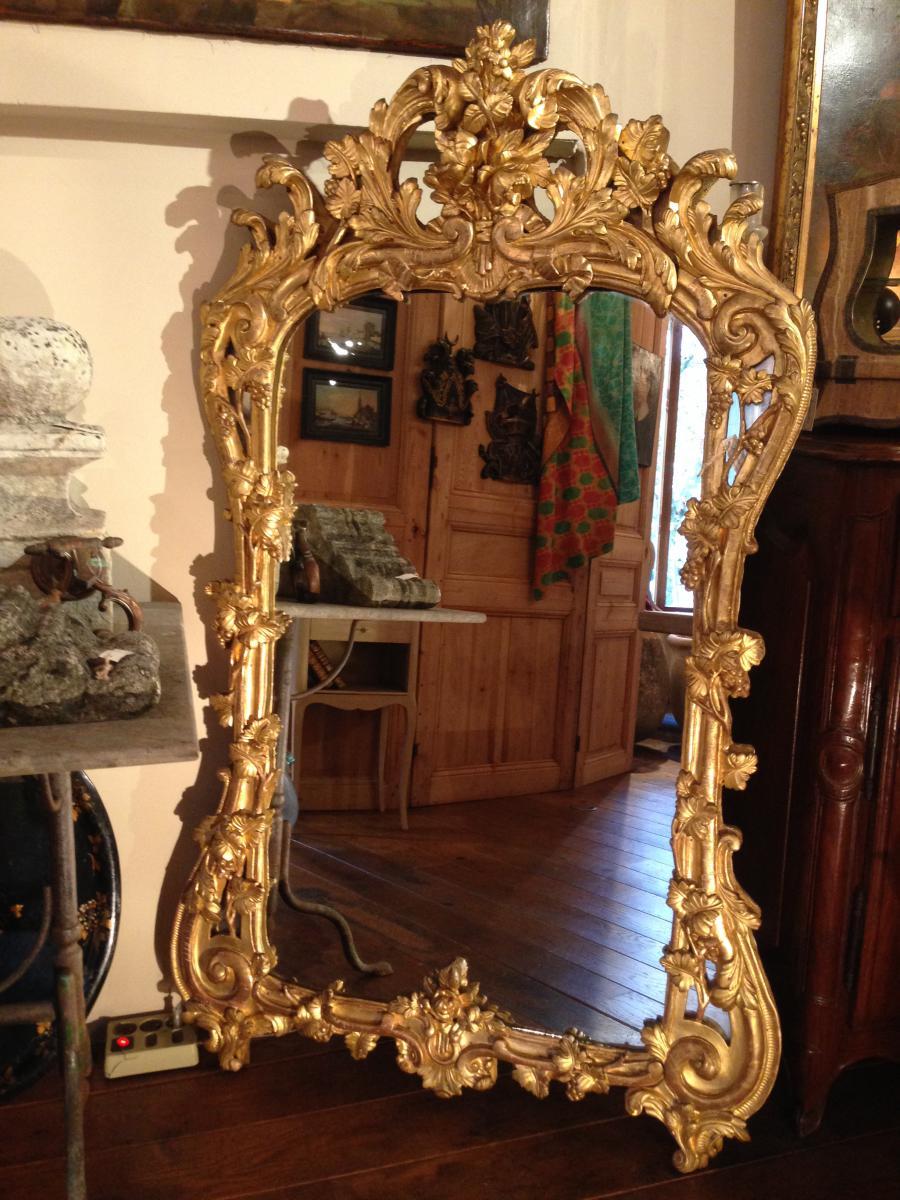 Miroir proven al en bois dor xviii miroirs for Miroir xviii