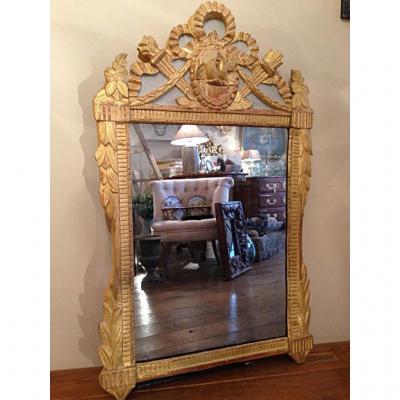 Miroir Provençal Bois Doré époque Louis XVI
