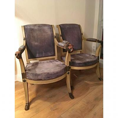 Pair Of Consulate Armchairs (jbb Demay)