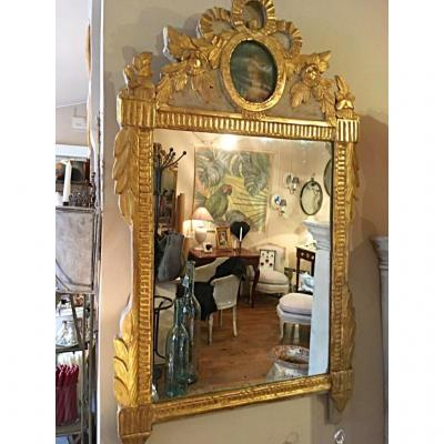 Louis XVI Mirror Golden Wood 19th Century