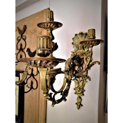 19th Century Bronze Wall Lamp