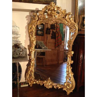 Miroir Provençal En Bois Doré XVIII