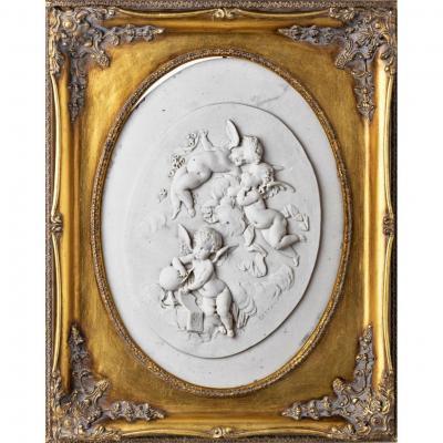 """Mme Leon Bertaux ( 1825-1909 ) Sculpture en Marme """" Les Trois Putti """" Signe"""