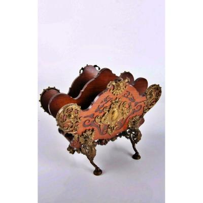Napoleon III Mahogany And Bronze XIXth Century Reveau Holder