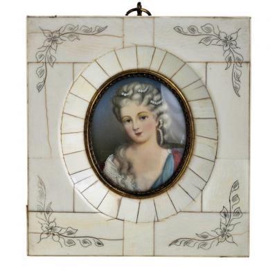 Miniature Représentant Madame d'Épinay Signe XIXeme Siècle