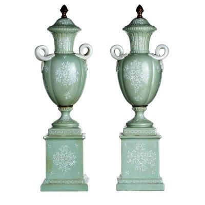 Pair Of Amphorae Edme Samson - Paris Porcelain