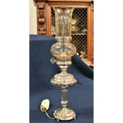 Lampe de Table Italienne raffinée en Argent XIXeme Siècle