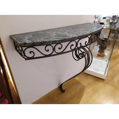 Wrought Iron And Green Marble Console