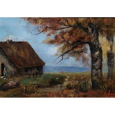 Country Scene, Oil On Canvas Signed J. Jaquet