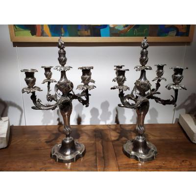 Paire De Chandeliers En Bronze Argenté , De Style Louis XV