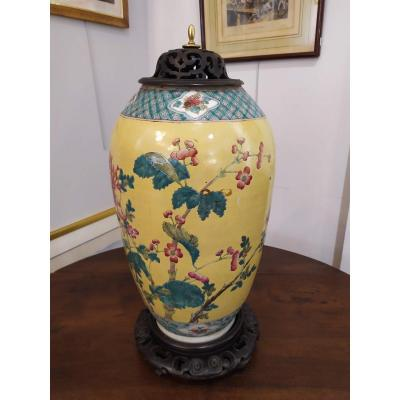 Large Covered Pot, Or Vase, Asian, With Floral Decor, Late XIXth Debut XXth